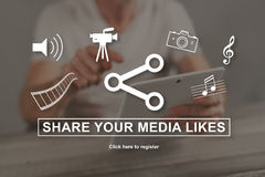 Concept of media likes sharing. Media likes sharing concept illustrated by a picture on background Royalty Free Stock Photos