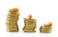 Concept of medical expenses. Drugs and coins on background Stock Images