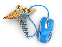 Concept of medicine online. Caduceus sign and mouse. Stock Photography