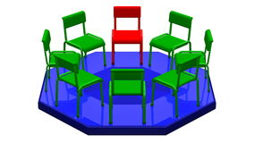 Concept meeting. Chairs turn around. 3D rendering. Concept meeting. Chairs turn around. Loopable. Luma matte. 3D rendering royalty free illustration