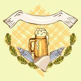 The concept of men`s rest in the sauna, bath.Mug with foam beer and dry fish. Vector illustration in the style of. The concept of men`s rest in the sauna, bath Royalty Free Stock Photos