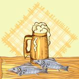 The concept of men`s rest in the sauna, bath.Mug with foam beer and dry fish. Vector illustration in the style of. The concept of men`s rest in the sauna, bath Stock Photography
