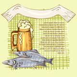 The concept of men`s rest in the sauna, bath.Mug with foam beer and dry fish. Vector illustration in the style of. The concept of men`s rest in the sauna, bath Royalty Free Stock Image