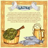 The concept of men`s rest in the sauna, bath.Mug with foam beer and dry fish. Vector illustration in the style of. The concept of men`s rest in the sauna, bath Royalty Free Stock Photography
