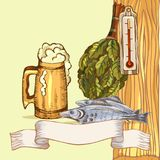 The concept of men`s rest in the sauna, bath.Mug with foam beer and dry fish. Vector illustration in the style of. Sketching Stock Photo
