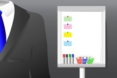 Concept of men`s suit and empty flipchart with moderation equipm Royalty Free Stock Photography
