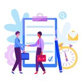 Concept men shaking hands after signing contract vector illustration