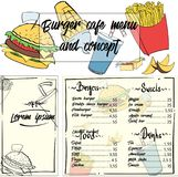 Fastfood concept menu. А concept menu for a fast food restaurant or cafe. Design template with hand-drawn graphic illustrations Royalty Free Stock Photography