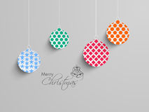 Concept of Merry Christmas celebration with hanging x-mas ball. Royalty Free Stock Images