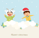 Concept of Merry Christmas celebration with little cute kids. Royalty Free Stock Photography