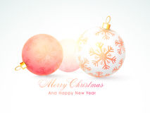 Concept of Merry Christmas and Happy New Year celebrations. Beautiful snowflakes decorated X-mas Balls for Merry Christmas and Happy New Year celebrations Royalty Free Stock Image