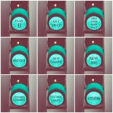 Concept messages written over green traffic lights. Photo collage with concept messages written over green traffic lights Royalty Free Stock Image