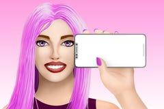 Concept met het mobiele model van de celtelefoon Getrokken aardig meisje op heldere achtergrond Illustratie Royalty-vrije Stock Afbeelding