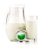 Concept met melk en klok stock fotografie