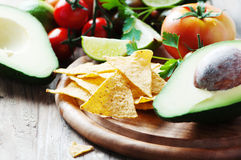 Concept of mexican food with raw vegetables Royalty Free Stock Image