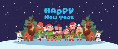 Concept mignon de vacances de Joyeux Noël de carte de voeux d'année d'Elfs et de Santa Deer On Happy New Illustration Libre de Droits