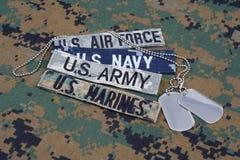 Concept MILITAIRE des USA avec des bandes de branche et des étiquettes de chien sur l'uniforme de camouflage Photo libre de droits