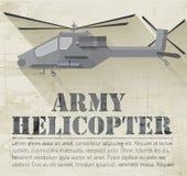 Concept militaire grunge de fond d'icône d'hélicoptère Images libres de droits
