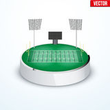 Concept of miniature round tabletop American football stadium Stock Image