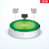 Concept of miniature round tabletop cricket stadium Royalty Free Stock Photography
