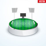Concept of miniature round tabletop football stadium Stock Images