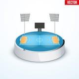 Concept of miniature round tabletop handball arena Stock Image
