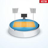 Concept of miniature round tabletop volleyball arena Royalty Free Stock Images