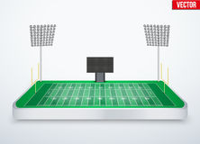 Concept of miniature tabletop American football stadium vector illustration