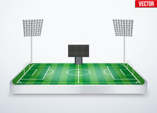 Concept of miniature tabletop football stadium Royalty Free Stock Image