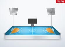 Concept of miniature tabletop handball arena Royalty Free Stock Image