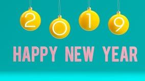 Concept minimal de la nouvelle année 2019 : Boules de Noël sur le fond bleu illustration stock