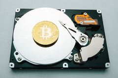 The concept of mining and storage of crypto-currents bitcoin royalty free illustration