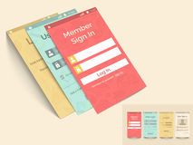 Concept mobiele interface met login malplaatje Royalty-vrije Stock Afbeelding