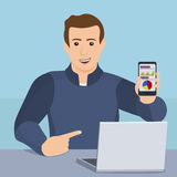 The concept of mobile app. Businessman showing a smartphone Stock Photography