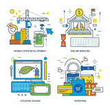 Concept of mobile apps development, online banking, creative design, shopping. Color Line icons collection Stock Photos