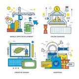 Concept of mobile apps development, online banking, creative design, shopping. Stock Photos