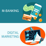 Concept of mobile banking, digital marketing. Flat design concept of mobile banking with smartphone and digital marketing Stock Photography