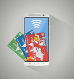 Concept of mobile banking and online payment Stock Images