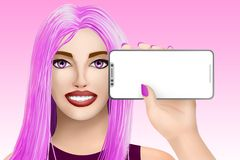 Concept with mobile cell phone mockup. Drawn nice girl on bright background. Illustration Royalty Free Stock Image