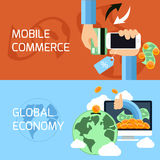 Concept for mobile commerce and global economy. Flat design concept of mobile commerce, online shopping and global finance, economy with digital devices Stock Photos