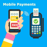 The concept for mobile contactless payments Royalty Free Stock Photo