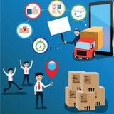 Concept mobile d'application, appel d'homme un camion par application - Images libres de droits