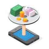 Concept mobile d'opérations bancaires Photo libre de droits