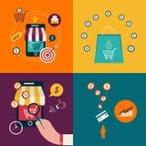 Concept mobile de paiement avec les icônes plates illustration de vecteur