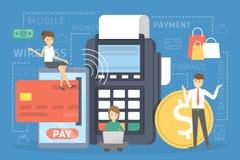 Concept mobile de paiement Exécution de la transaction d'argent sur le dispositif numérique illustration libre de droits
