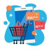 Concept mobile de paiement Exécution de la transaction d'argent sur le dispositif numérique illustration stock