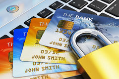 Concept mobile de sécurité d'opérations bancaires Images libres de droits