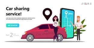 Concept mobile de transport de ville, covoiturage en ligne illustration libre de droits
