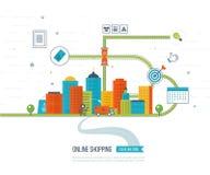 Concept mobile de vente Achats en ligne Propriétaires faisant des emplettes au supermarché Affaires d'investissement delivery illustration stock