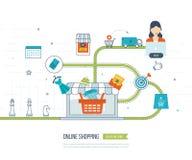 Concept mobile de vente Achats en ligne Propriétaires faisant des emplettes au supermarché Affaires d'investissement delivery illustration de vecteur